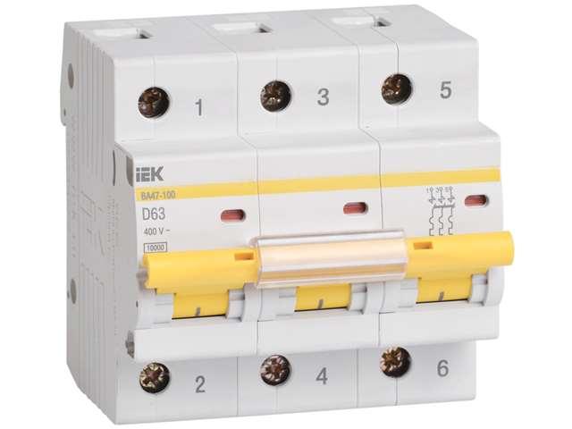 Автоматический выключатель  ВА47-100 3P D 100А 10 ☎ (067) 440 53 73 ✓ лучшие цены ✓ постоянные акции и скидки ✓ отзывы ✓ точка выдачи в Киеве