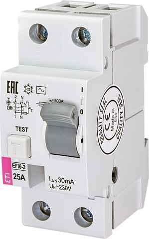 Купить Дифференциальное реле (УЗО) AC EFI6-2 2P B 25А 30мА 6кА ETI 2062132 + ☎ (067) 440 53 73 ✓ лучшие цены ✓ постоянные акции и скидки ✓ отзывы ✓ точка выдачи в Киеве