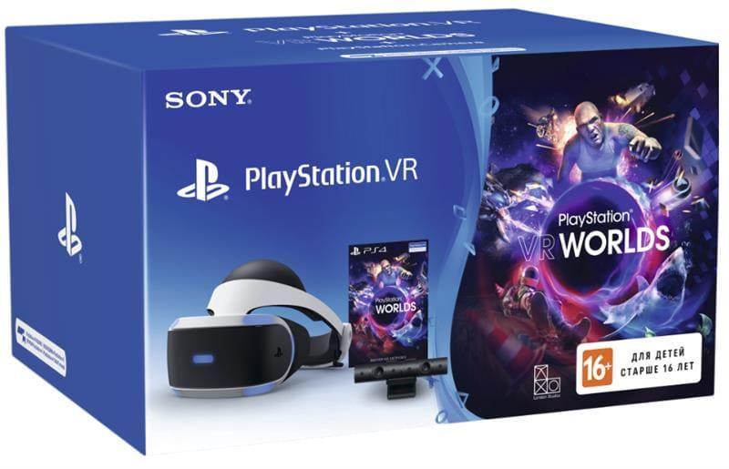 <p>Описание: <strong><br/>Очки виртуальной реальности PlayStation VR (Camera + VR Worlds) PlayStation 9982067</strong><br/>Тип: <strong>Аксесуары</strong><br/>Тип подключения: <strong>проводное</strong><br/>Цвет изделия: <strong>арт.</strong><br/>Тип экрана: <strong>OLED</strong><br/>Разрешение: <strong>2x(1920x1080)</strong><br/>Наличие Wi-Fi модуля: <strong>нет</strong><br/>Наличие DualShock: <strong></strong><br/>Размер, мм: <strong>187x185x277</strong><br/>Вес, г: <strong>610</strong></p><br/><p>Дополнительное описание:<br/>Погрузитесь в невероятные новые миры, окажитесь в центре потрясающих вселенных и опробуйте новый способ игры с PlayStation VR; Обладатель золотой награды IF в номинации «Дизайн продукта»; 5,7-дюймовый OLED-экран. Трехмерное гиперреалистичное окружение оживает перед вашими глазами благодаря пользовательскому OLED-экрану; Эффект погружения на PS VR с обзором на 360 градусов позволит вам стать частью живого мира с бесшовным полем обзора; 120 кадров в секунду. Плавная визуализация и необычайно низкое время задержки поможет погрузиться в захватывающие игровые миры; Объемный звук. Откройте для себя новое измерение звука с ультрасовременным объемным звучанием, которое позволит точно устанавливать направление и расстояние до звука сверху, снизу и вокруг; Встроенный микрофон. Общайтесь с сетевыми друзьями, обсуждайте тактику игры и еще глубже погружайтесь в виртуальный мир благодаря встроенному микрофону на гарнитуре; Cовершите погружение в морские глубины, кишащие акулами, в PlayStation VR Worlds; участвуйте в гонках на суперкарах в DRIVECLUB VR или отправьтесь в кошмар в Until Dawn: Rush of Blood. Эти и другие игры в виртуальной реальности никого не оставят равнодушными; Выводите изображение ваших игр для PS VR на экран вашего телевизора с помощью зеркального режима позвольте вашим друзьям или родственникам видеть то же, что и вы в виртуальной реальности; Просматривайте панорамные видеоролики и фотографии с помощью мультимедиа проигрывателя PS4; Нас